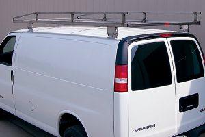 Stainless steel ladder rack for GMC cargo vans